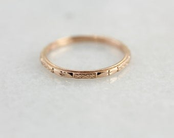 The Cora Pretty Rose Gold Forget Me Not Band By Elizabeth Henry, Stacking or Wedding Band