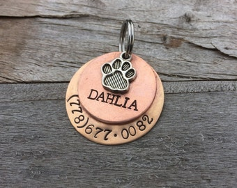 "Handmade Custom Hand-stamped Dog tag - The ""Dahlia"" - Personalized"