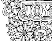 Adult Colouring Page:Original Hand Drawn Art in Black and White, Instant Digital Download Image of the word Joy with flowers
