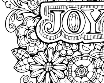 adult colouring pageoriginal hand drawn art in black and white instant digital download - Inspirational Word Coloring Pages