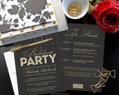 Bachelorette Party Invitations with Itinerary - Black & Gold Glitter - PRINTABLE Bachelorette Party Invitations