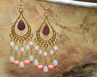 Boho earrings, Chandelier earrings, Coral pink earrings, Gold tone earrings, Long earrings, Dangling earrings, Pastel earrings