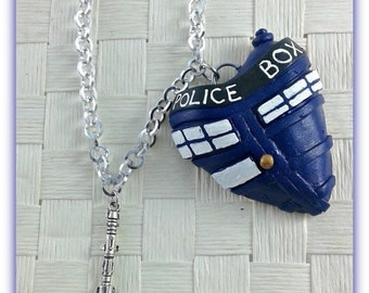 TARDIS heart pendant necklace-A- Doctor Who sonic screwdriver polymer clay