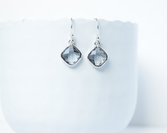 Earrings Charcoal silver and rhodium plated,Earrings glass,Dangling earrings,Earrings grey,Wedding earrings,Grey earrings,Square charcoal