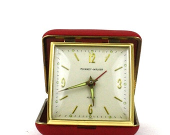 Vintage Travel Alarm Clock / Phinney Walker Red Clam Shell Alarm Clock