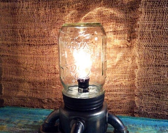 Pet Mason Jar light,industrial lamp rustic Edison lamp,small Table lamp,Steampunk lamp, deco lighting