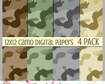 Hunting Camo Digital Paper, 12x12, 300 DPI, 4Pack Camouflage PaperPack