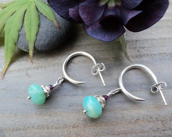 Sterling Silver Hoops with Peruvian Opals & tiny Garnet