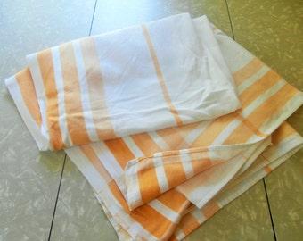 Vintage, Linen, White/Yellow, Plaid, Tablecloth, ...