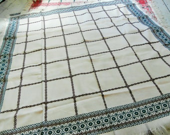 "Vintage, Woven, Heavy Linen, Tablecloth, Cream/Green/Brown, 49"" Square"