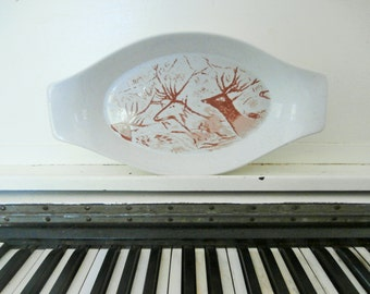 "1960's,  ""The Primitive Collection"" The Shafford Co., Serving Dish, Deer, Southwestern, Cave Art"