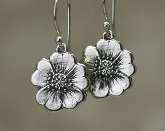 Sterling Silver Buttercup Earrings – Sterling Silver Flower Earrings – Buttercup Sterling Silver Earrings – Sterling Silver Dangle Earrings