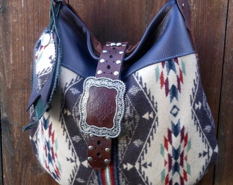 Wool Bag Purse Tote  Leather Native American  Pendleton Wool Fabric