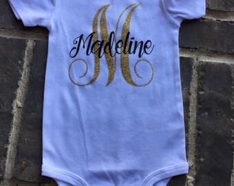 Personalized Custom Name Monogram Baby  Girl Carters Short sleeve White onesie Gold Glitter and Black