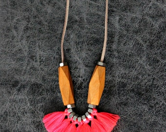 Long tassel necklace, neon tassel necklace, tassel statement necklace, fringe necklace, tribal necklace, fan necklace
