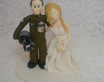 personalized bride and military pilot groom wedding cake topper