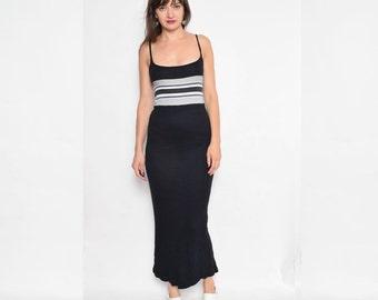 Vintage 90's Black Maxi Dress / Sleeveless Color Block Dress / Size Small