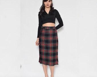Vintage 80's Tartan Wool Skirt / Wrap Up Pleated Midi Skirt / High Waist Plaid Wool Skirt