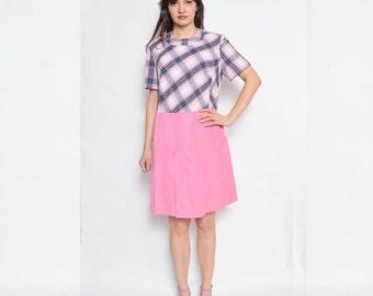 Vintage 70's Pink Pleated Dress / Plaid Pink Dress / Short Sleeve Pleated Dress