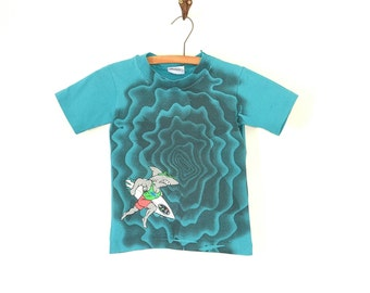 Childs Surf T Shirt- Vintage 90s Neon Surfing T Shirt - Teal Shark Childrens T Shirt - VIntage Childrens Clothing Size 4/5