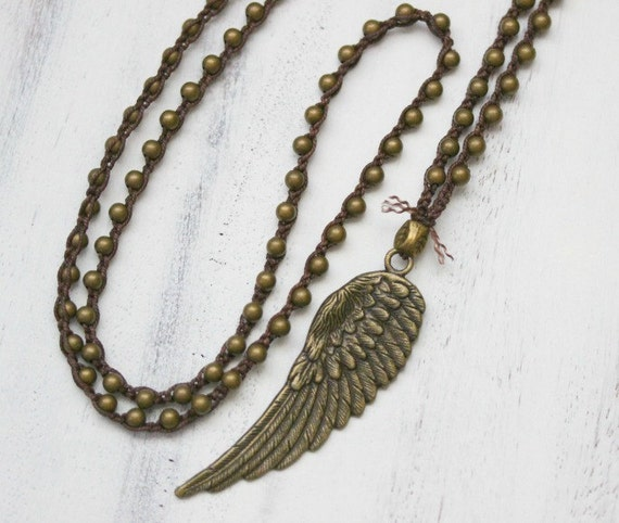 Angel Wing Necklace Layering Crochet by BearCreekCollection