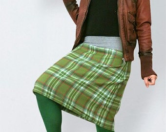 Green checkered  wool skirt  in retro style ,scottish checkered skirt, ,  scottish skirt, wool skirt, warm skirt, autumn, winter