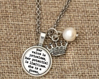 FREE SHIPPING - Her Value Is Priceless She Is A Queen - Quote Necklace - Silver Glitter - Quote ...