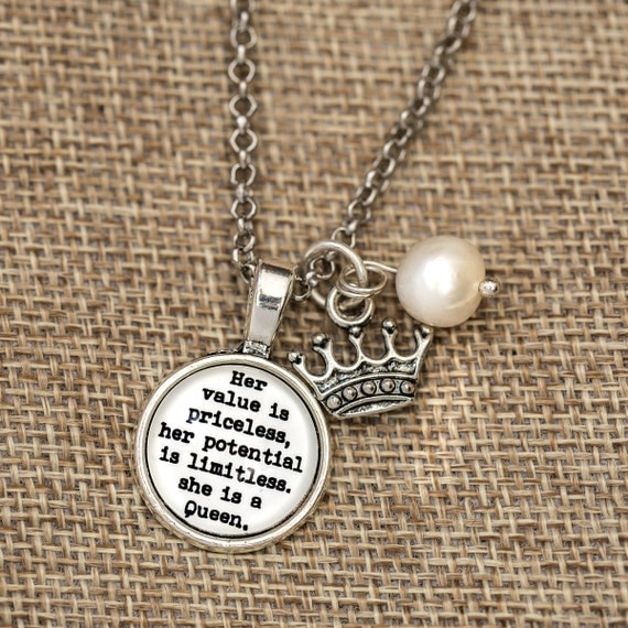 FREE SHIPPING - Her Value Is Priceless She Is A Queen - Quote Necklace - Silver Glitter - Quote Necklace