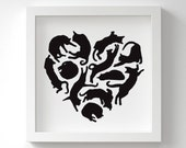 Cat Heart Print – Heart Art – Cat Lover Gift – Birthday Gift – Gift for Her – Cat Gift – In Many Colours – 13x13cm or 23x23cm – Unframed