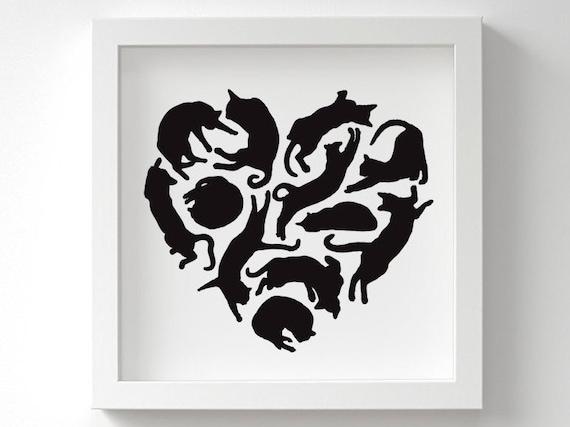 Vintage Cat Art Print u Heart Art u Cat Lover Gift u Nursery Wall Art u Gift