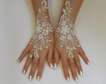 Ivory gold or ivory silver frame wedding gloves bridal gloves lace gloves fingerless gloves ivory gloves  free ship w