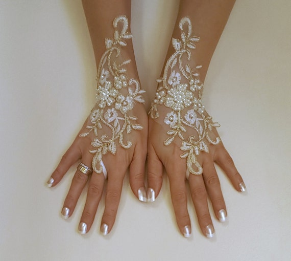 Ivory gold or ivory silver frame wedding gloves bridal gloves lace gloves fingerless gloves ivory gloves  free ship w