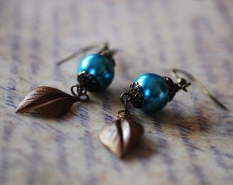 Turquoise color Glass Pearl bead and brass earrings