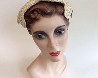 50s Eva Mae Sequin Juliet Cap / 1950s Vintage Sequined and Ribbon Cream Hat