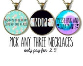 Buy 2 Necklaces, Get 1 HALF OFF! - Pack of 3 Sarcastic/Pastel Goth/Soft Grunge/WTF Necklaces
