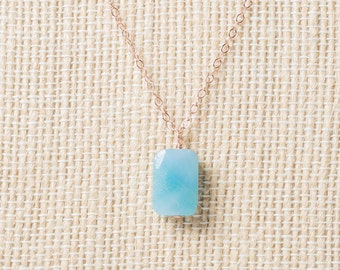 Rose gold necklace, amazonite pendant necklace, rosegold necklace, layered, aqua blue, turquoise