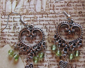 Peridot and Celtic Heart Earrings