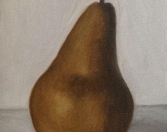 "Still life painting: Pear 4x6"", original oil painting"