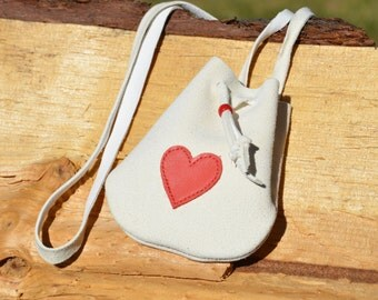 Small Medicine Pouch - Drawstring Bag - Red Heart Medicine Bag -  White Leather Pouch - Love - Coins or Crystals or Secret Pouch