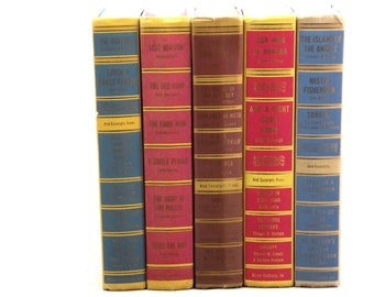 Colorful vintage book collection, decorative Best In Books set, brightly colored books for room decor, yellow blue red green book set