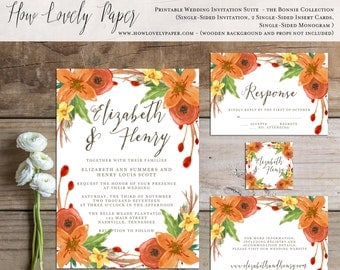 Printable Fall Wedding Invitation Suite - the Bonnie Collection