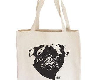 Pug Tote Bag, Pug Gift, Canvas Tote, Dog Lover Gift, Reusable Shopping Bag, Beach Tote, Pugs Not Drugs, Large Tote Bag, Cute Tote Bags