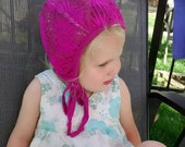 Fuchsia Crocheted Lace hat for those with hearing aids/cochlear implants