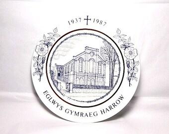 Welsh Church, Harrow London, Commemorative Plate, 50th Anniversary, Eglwys Gymraeg Harrow, A & M Griffiths, Felingwm Dyfed, Welsh Language