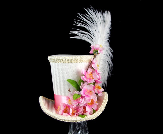 Ivory Stripe and Pink Cherry Blossom Flower Garden Large Mini Top Hat Fascinator, Alice in Wonderland, Mad Hatter Tea Party, Sakura Festival