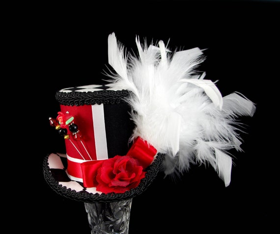 Red,  Black, and White Color Blocked and Harlequin Rose Medium Mini Top Hat Fascinator, Alice in Wonderland, Mad Hatter Tea Party, Derby Hat