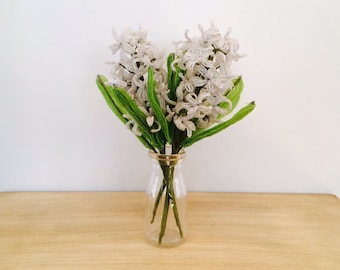 Vintage French Beaded Hyacinth Flower Bouquet - Set of 3