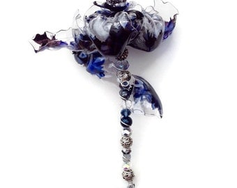 Navy Blue Wedding Bouquet, Unique Wedding Wand, jeweled wand, beaded bridal wand, navy blue flower, recycled art