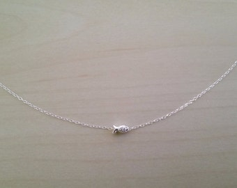 Delicate tiny fish charm .925 sterling silver necklace