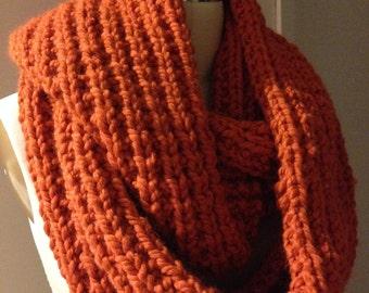 Chunky Knit Scarf, Chunky Scarf, Pumpkin Scarf, Infinity Scarf - Kay Infinity